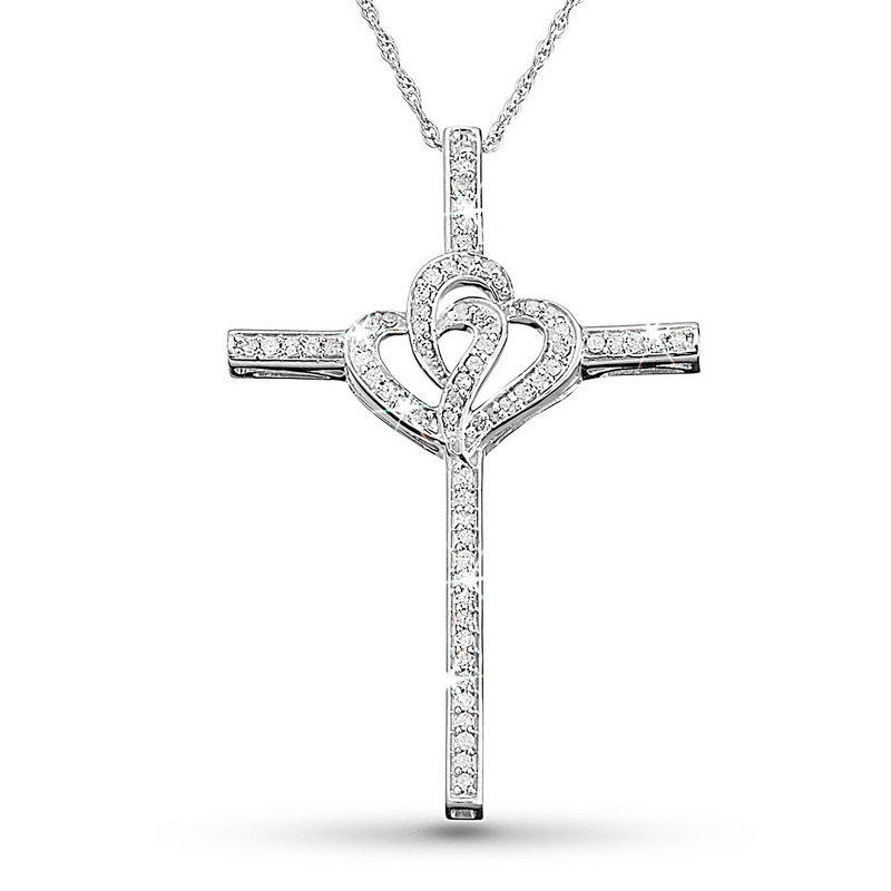 .33 CT Diamond Double Hearts Cross Necklace