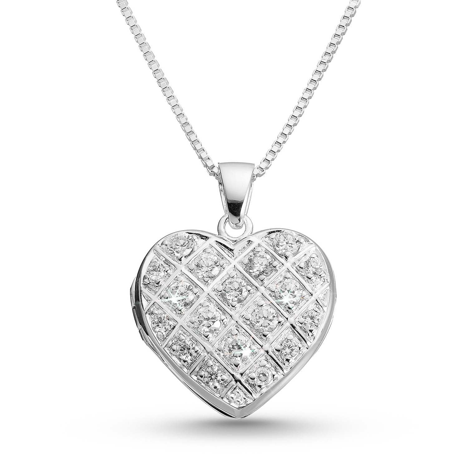 pave heart locket