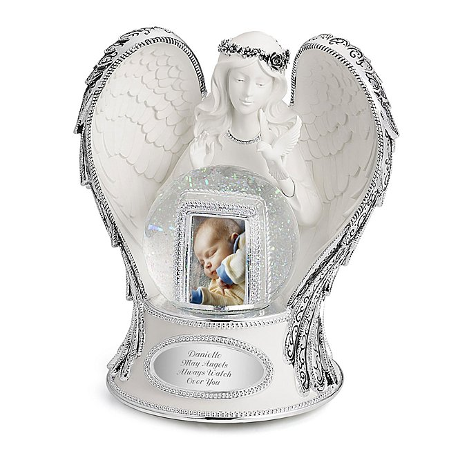 "Engraved Guardian Angel Musical Snow Globe, 6.6 in. x 5.4 in. x 7.4 in, Plays ""Pachelbel's Canon"" and Holds One Photo - Things Remembered"