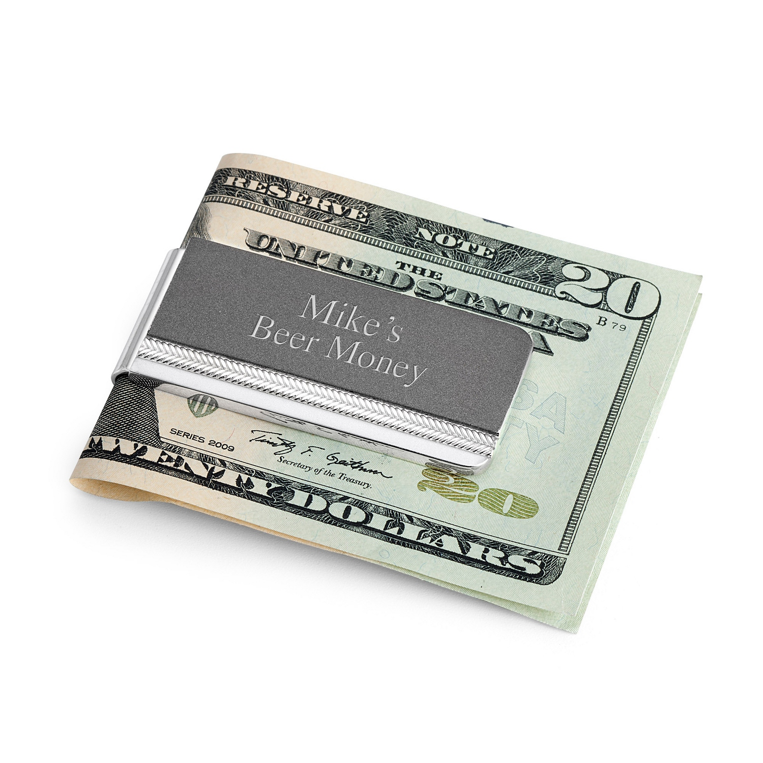 Personalized wallets money clips at things remembered matte grey tri tone money clip reheart Image collections