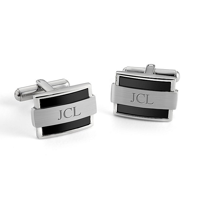 Wrapped Black Cuff Links with complimentary TriTone Valet Box