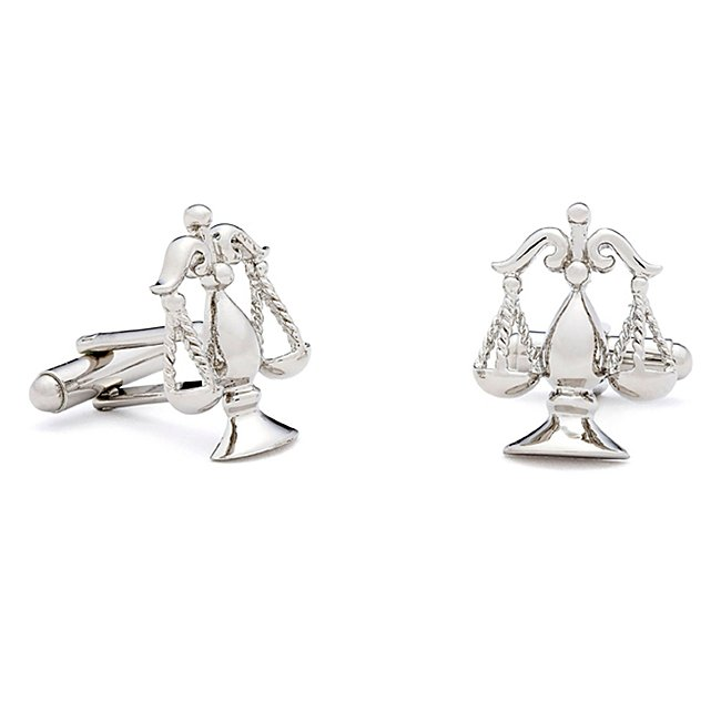 Scales of Justice Cuff Links with complimentary Weave Texture Valet Box