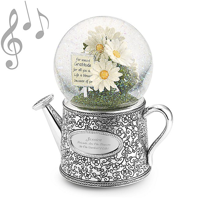 Personalized Floral Bouquet Musical Snow Globe