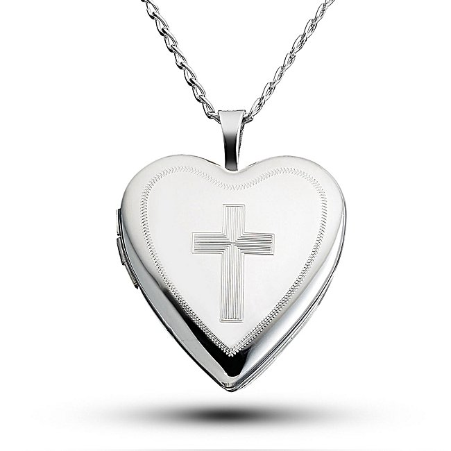 Sterling Silver Cross Locket with complimentary Filigree Keepsake Box