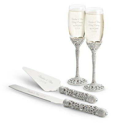 engraved wedding flutes and cake server sets personalized cake servers at things remembered 3924