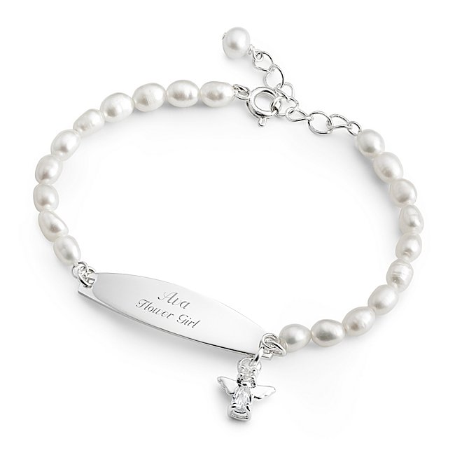 Girls Stainless Freshwater Pearl Angel ID Bracelet