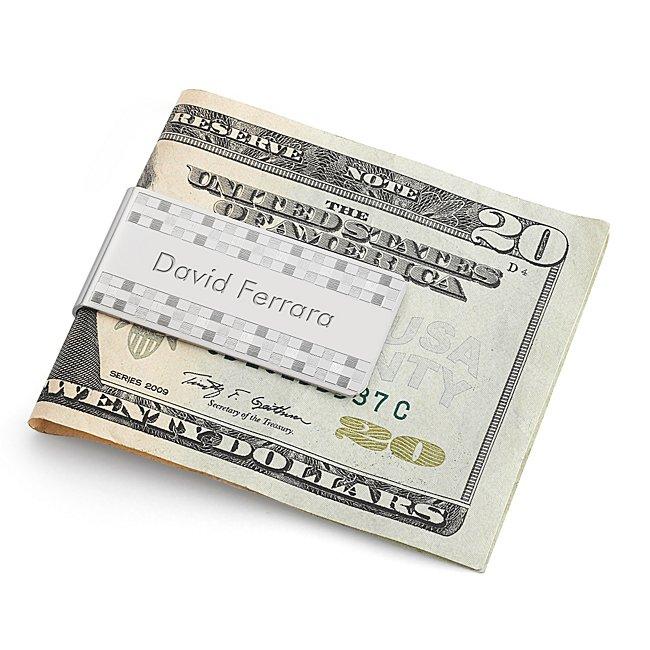 Dolan Bullock Sterling Checker Pattern Money Clip
