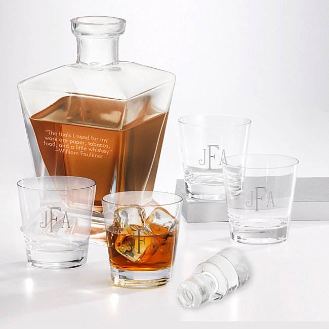 Personalized Set of Four Double Old Fashioned Glasses and Liquor Decanter by Things Remembered