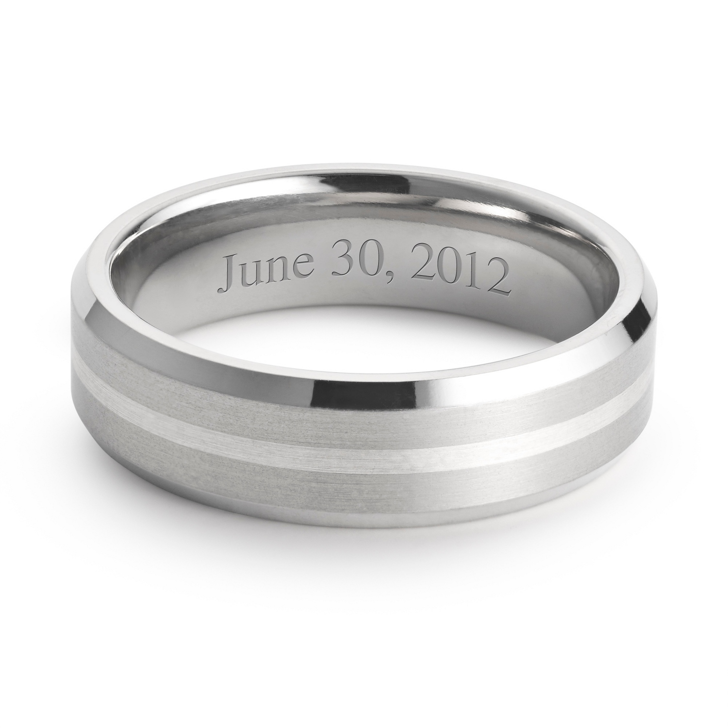 Titanium and Sterling Wedding Band