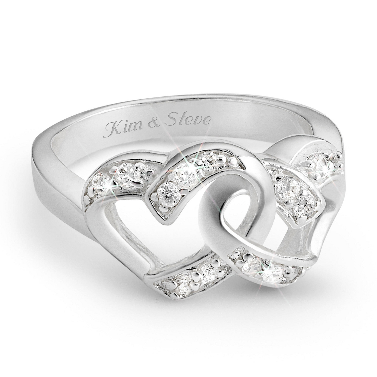 silver double heart couples rings