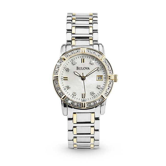 Ladies Bulova Two Tone Diamond Accented Watch 98R107 with complimentary Classic Beveled Edge Round Keepsake Box