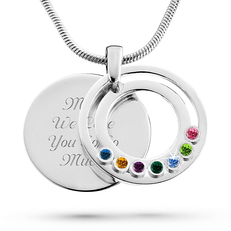 Family circle movable birthstone pendants aloadofball Choice Image