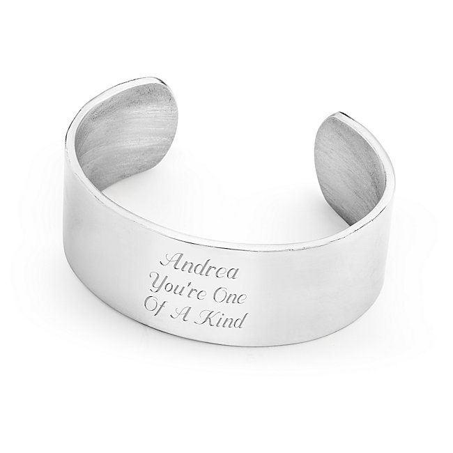 Classic. Timeless. Sophisticated style. All of these words describe this gorgeous piece of artwork for her wrist. Crafted from the finest, jewelry-quality pewter (which means it has no lead and will not tarnish), our cuff-style bracelet is made just for your words. This is a gift she can wear with anything-from work to hanging out in jeans-and she'll think of you every time she puts it on. -Great for birthdays, holiday and bridesmaid gifts -Hand-crafted in the USA by highly-skilled artisans using age-old techniques -This bracelet is a quality heirloom that can be passed down for generations. 1 Pewter Cuff Bracelet, In Silver, Pewter/Silver/Pu, By Things Remembered.