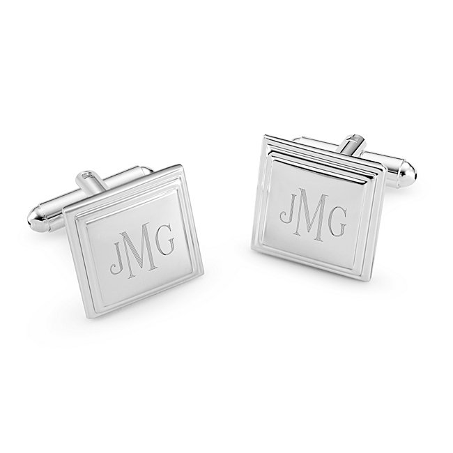 Personalized Square Step Cuff Links with complimentary Weave Texture Valet Box by Things Remembered