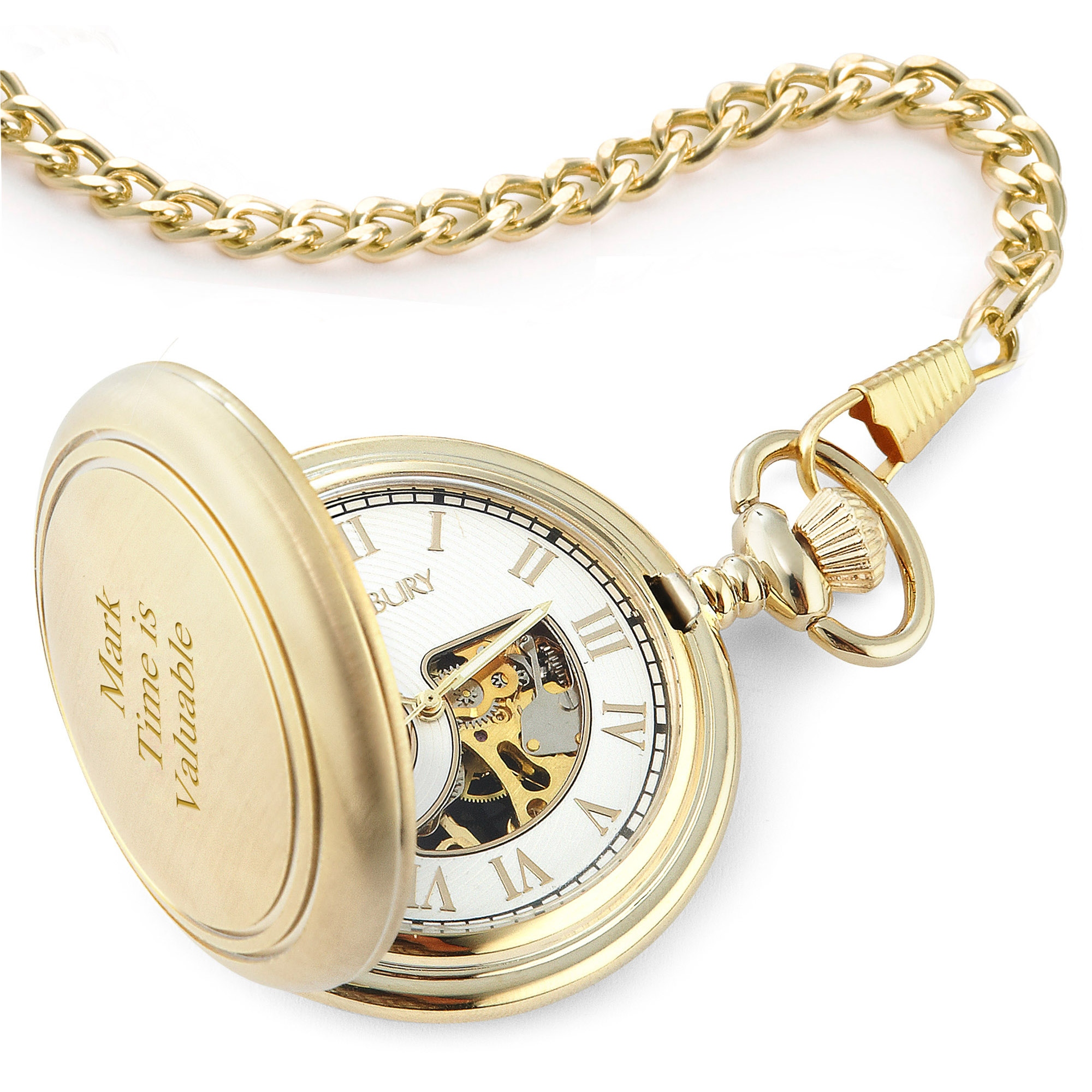 Brushed Gold Skeleton Pocket Watch
