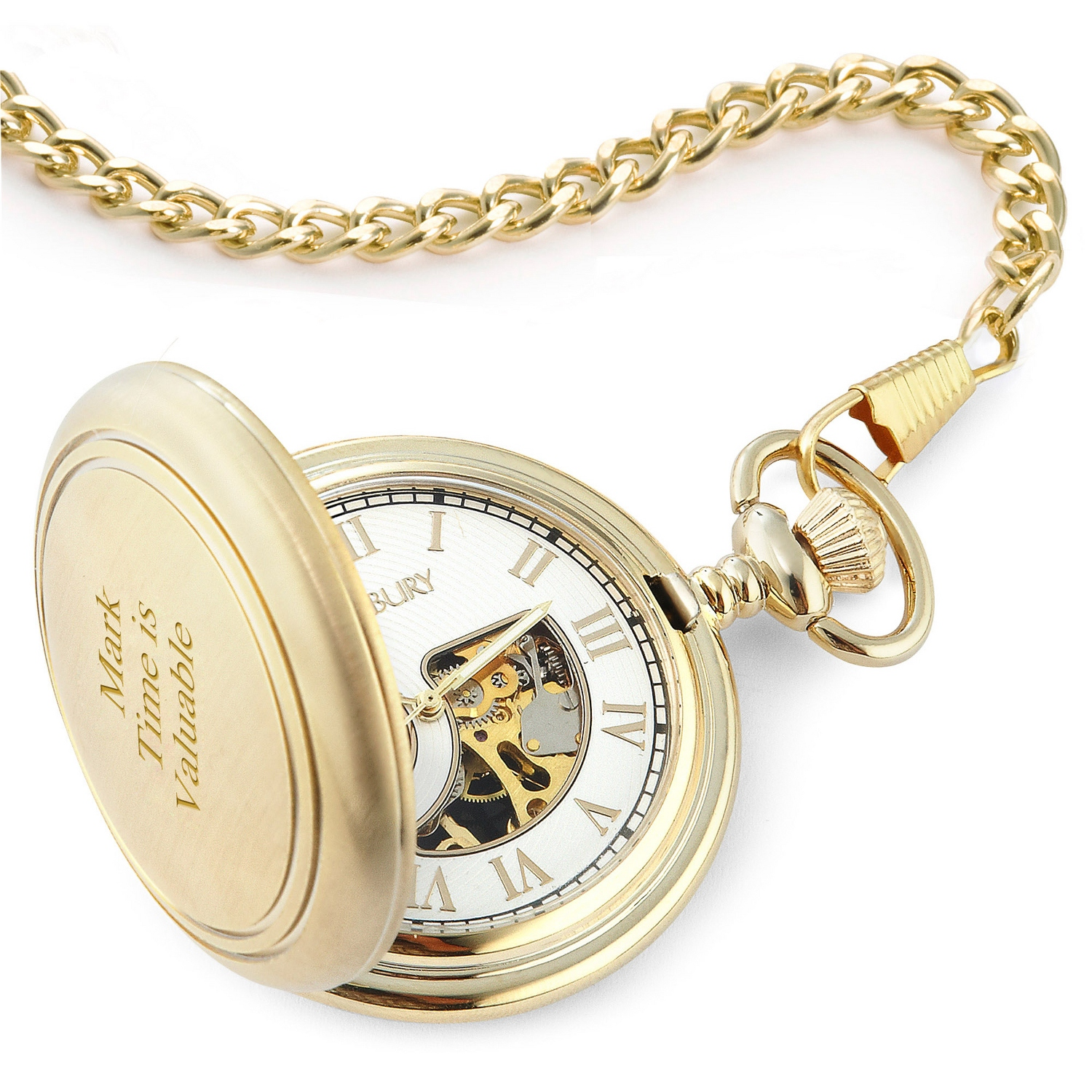 Gifts for the parents at things remembered brushed gold skeleton pocket watch jeuxipadfo Image collections