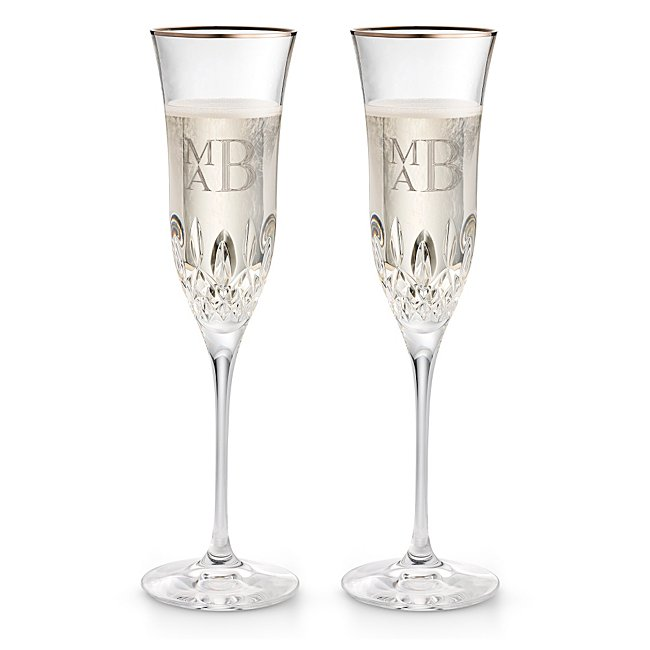 Waterford Lismore Essence Platinum Champagne Flutes