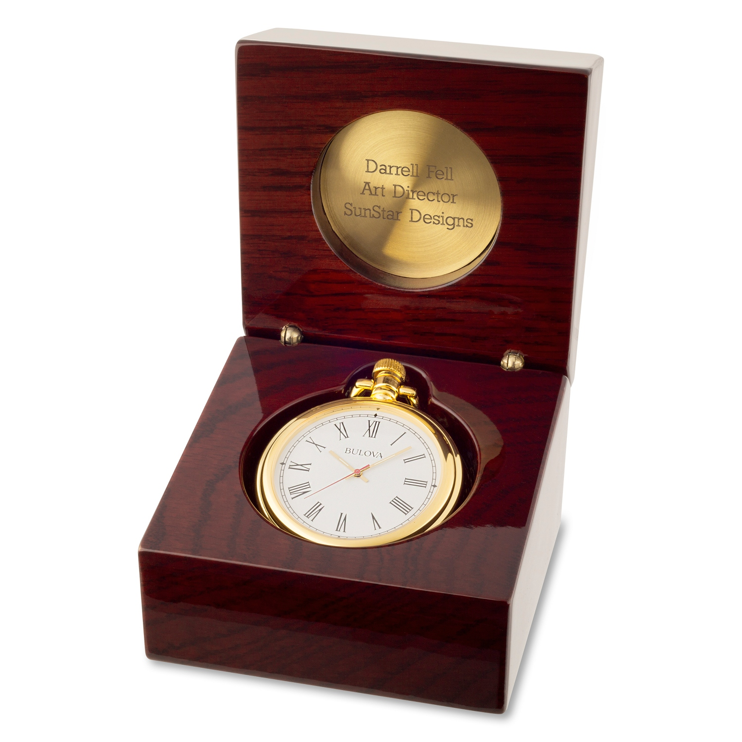 Engraved pocket watches at things remembered bulova ashton pocket watch and desk clock jeuxipadfo Image collections