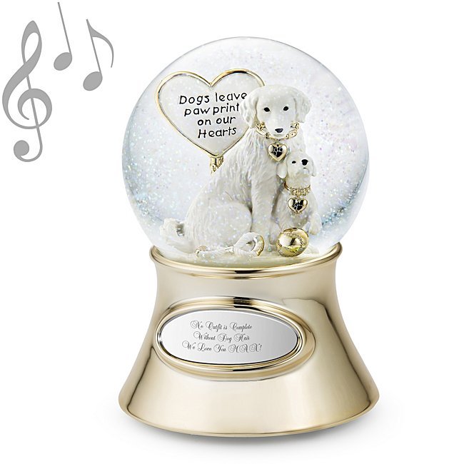 Personalized Make-A-Wish Paw Prints Dog and Puppy Musical Snow Globe