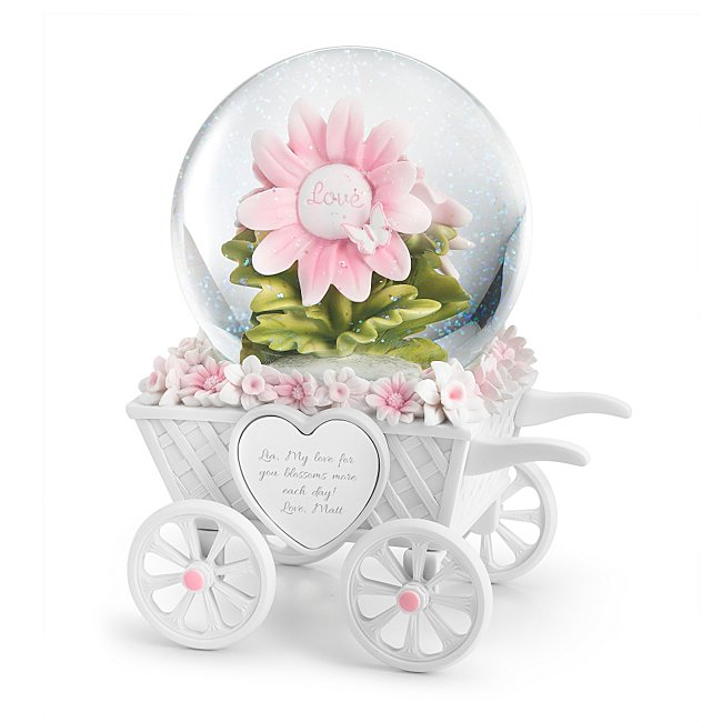 Personalized Musical Flower Garden Cart Snow Globe