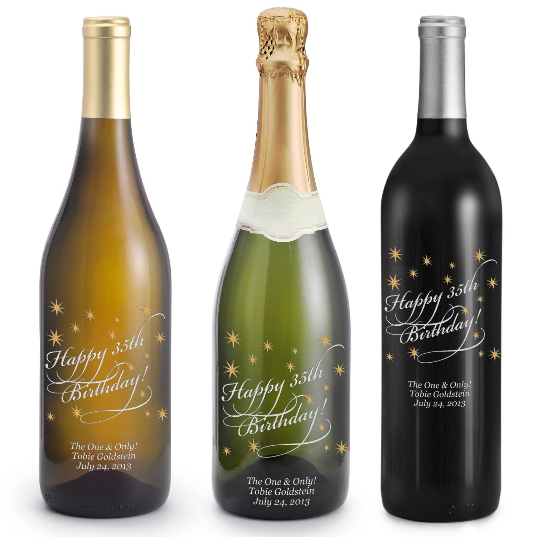 Happy Birthday Etched Wine Bottles