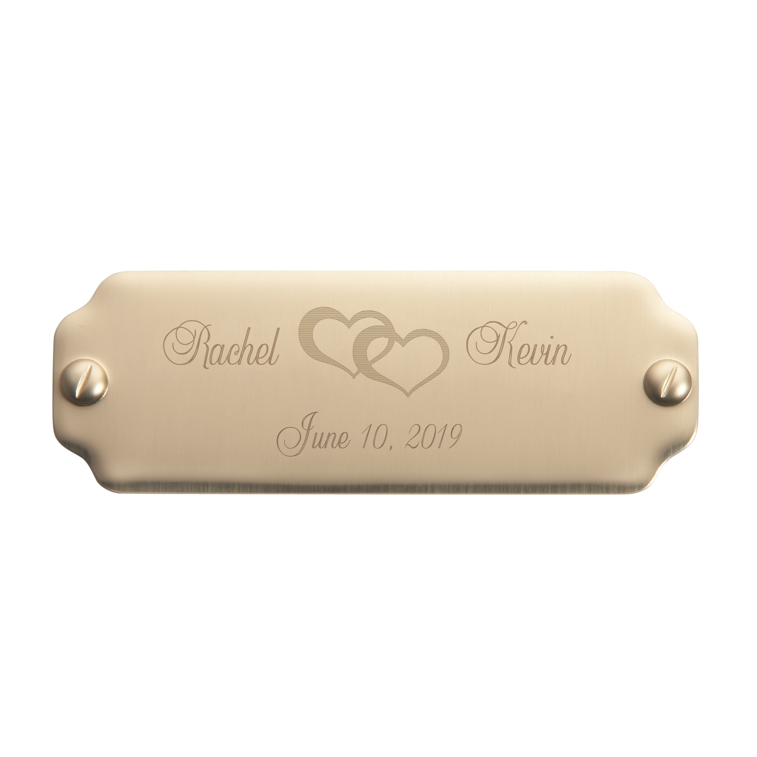 7 8 x 2 1 2 name plate with imitation screw design - Brass name plate designs for home ...