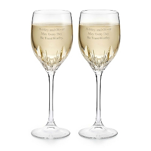 Engraved vera wang by wedgwood duchesse white wine glasses things remembered - Vera wang duchesse wine glasses ...